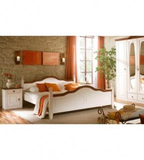 Bett 180x200cm Verra Landhausstil Pinie Weiß Massiv