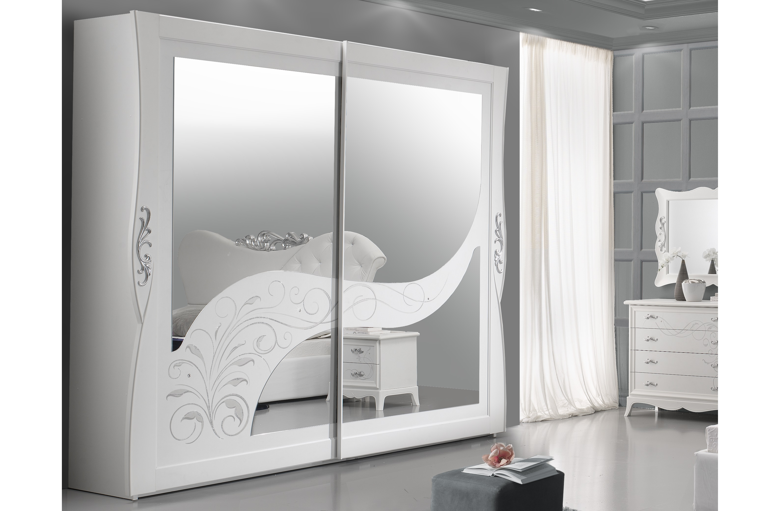 Schiebetürenschrank 2trg Gisell in weiss Edel Luxus Schlafzimmer ...