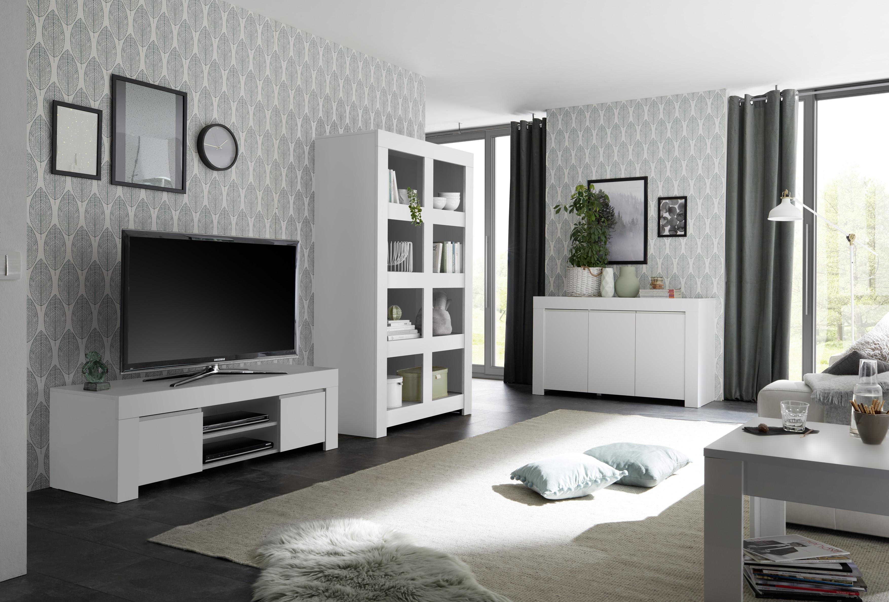 Wohnzimmer Set Fren in weiss TV-Schrank - yatego.com