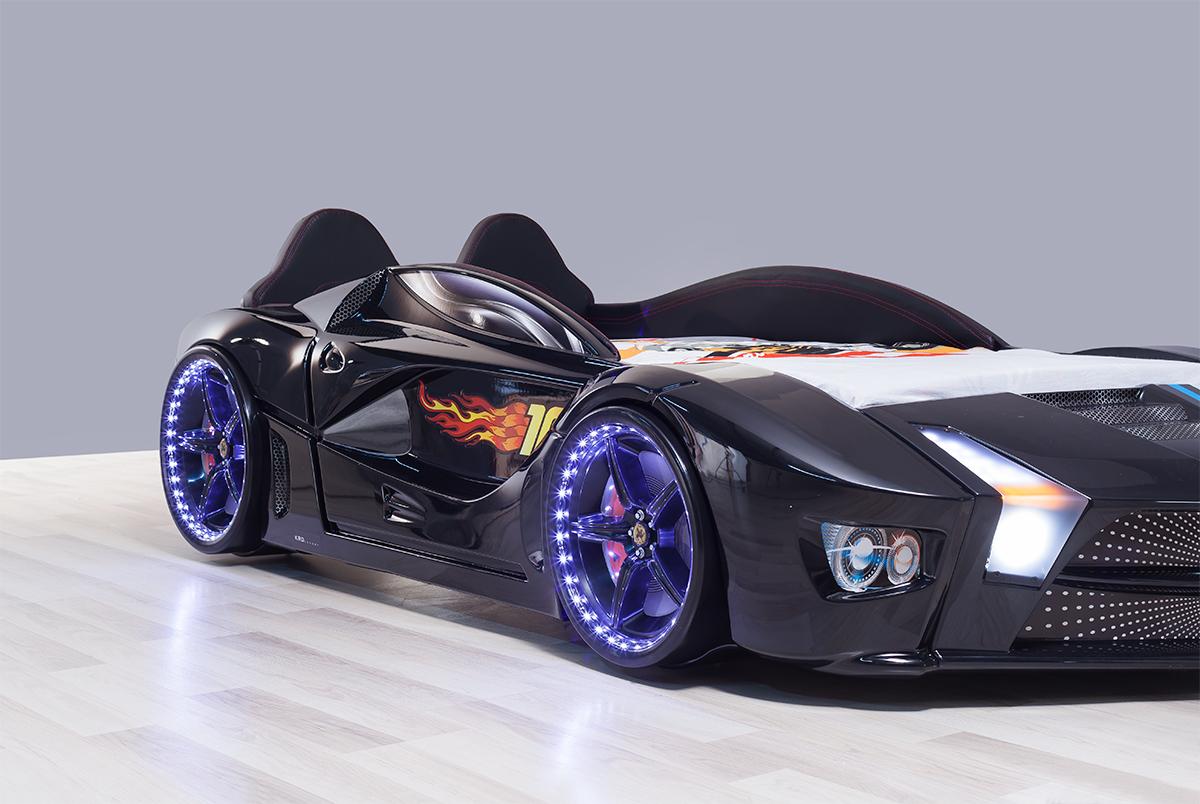 Autobett Luxury Vollversion schwarz mit LED und Polsterung Bett ...