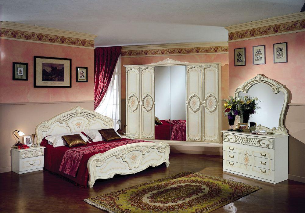 Schlafzimmer Rozza Beige Creme Bett 160 Italien Klassik Barock
