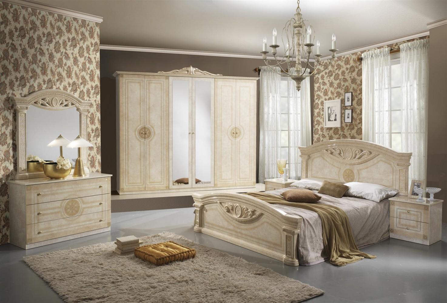 Schlafzimmer Rana Creme Beige 6 Türig Schrank 180 Bett Luxus Design 1 ...