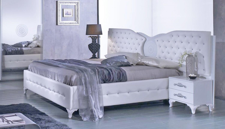 Bett 160x200 cm Anatalia in weiss silber modern - Kaufen bei KAPA Möbel