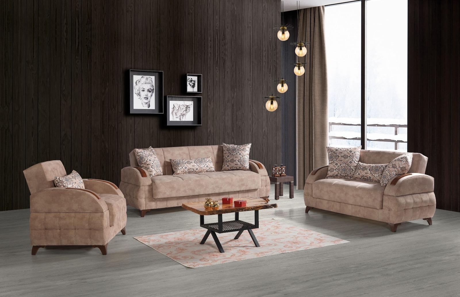 Sofa Couch Set Diva 321 In Beige Mit Schlaffunktion Kaufen Bei