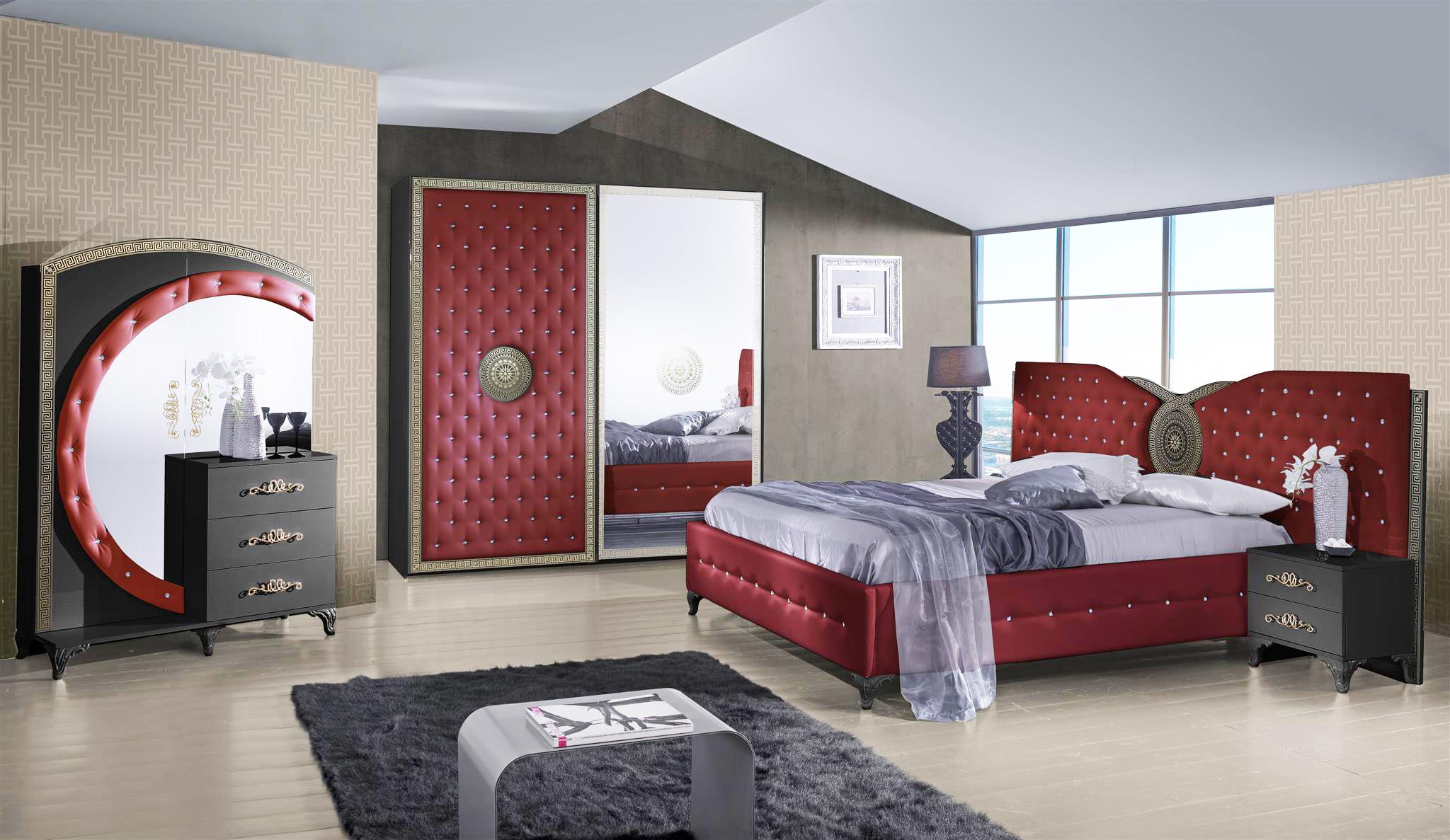 Schlafzimmer Anatalia In Rot Schwarz Luxus Design 1 ...
