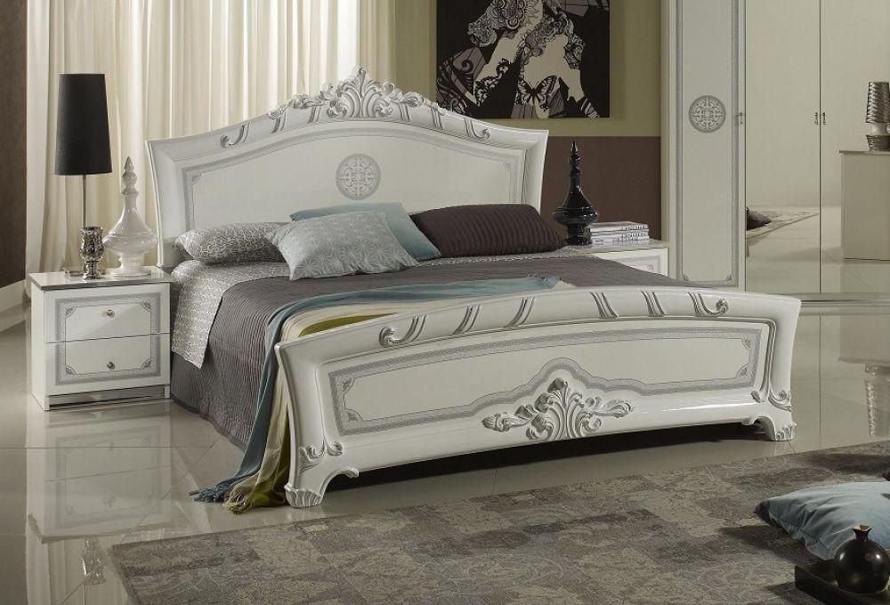 Bett 180x200 cm Great weiss silber italienisch Italia Stil Klass ...