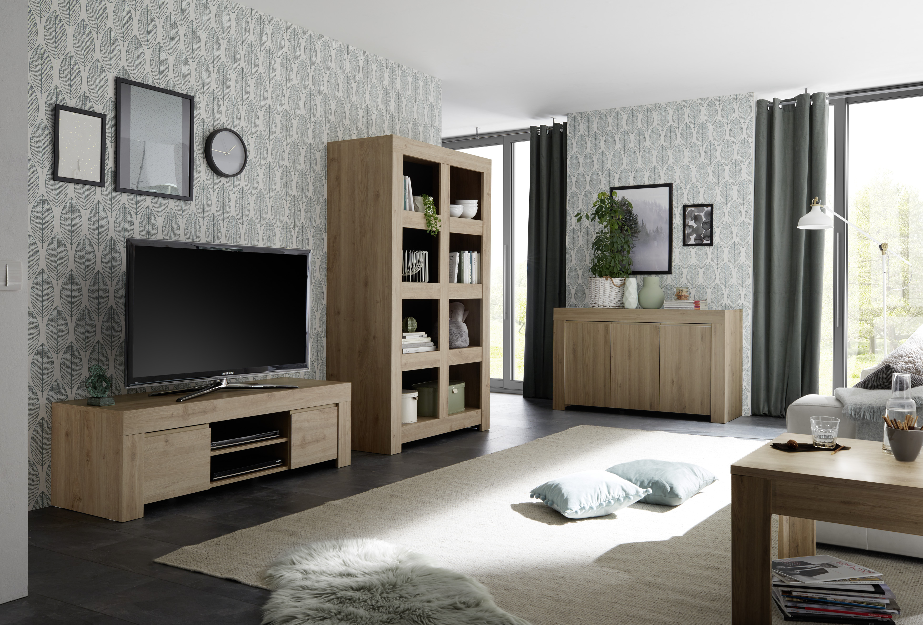 Wohnzimmer Set Fren In Eiche Tv Schrank Element Kaufen Bei Kapa