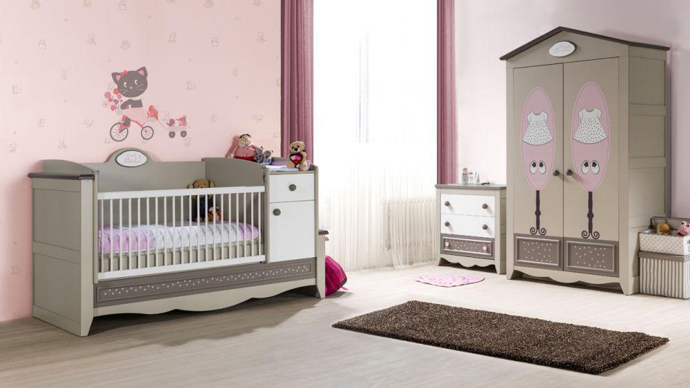 Babyzimmer weiß beige  Babyzimmer Houses 3 tlg braun beige weiss Boutique style Prinze ...