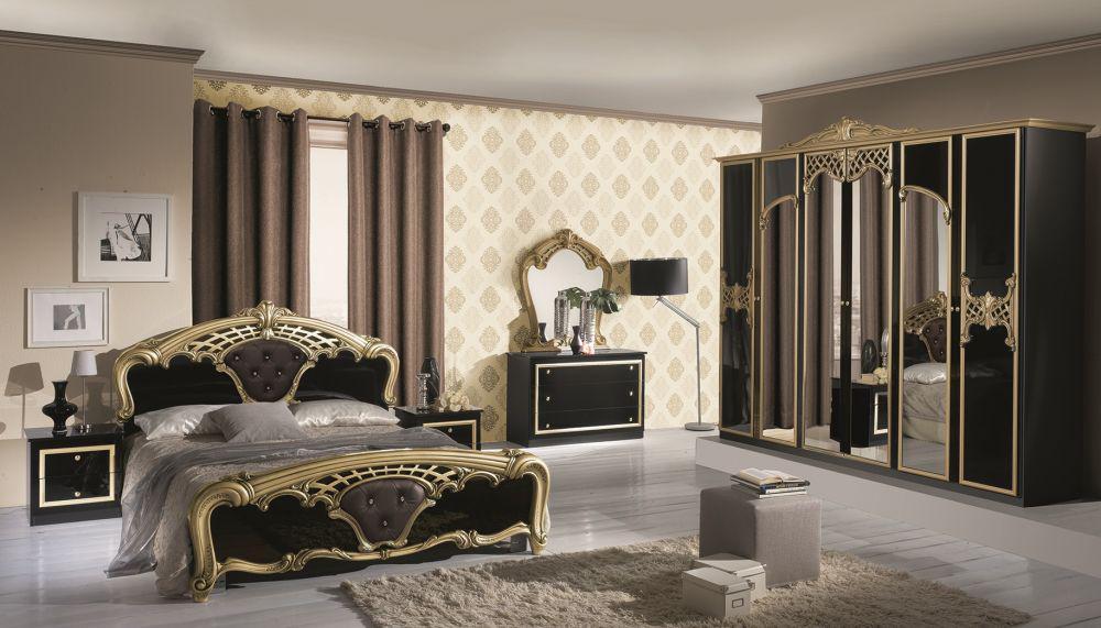 Fesselnd Schlafzimmer Elisa In Schwarz Gold 6 Türig Luxus Italienische 16 1 ...