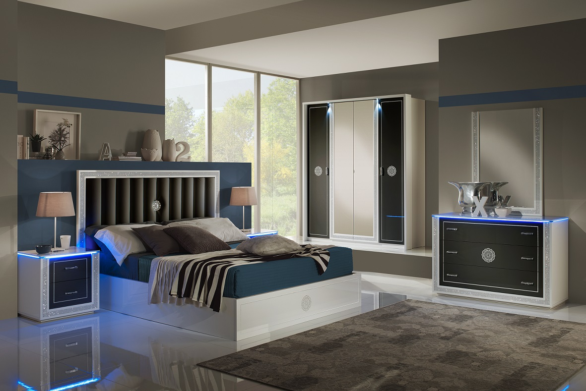 Schlafzimmer Cristal in Schwarz Weiss Modern Design