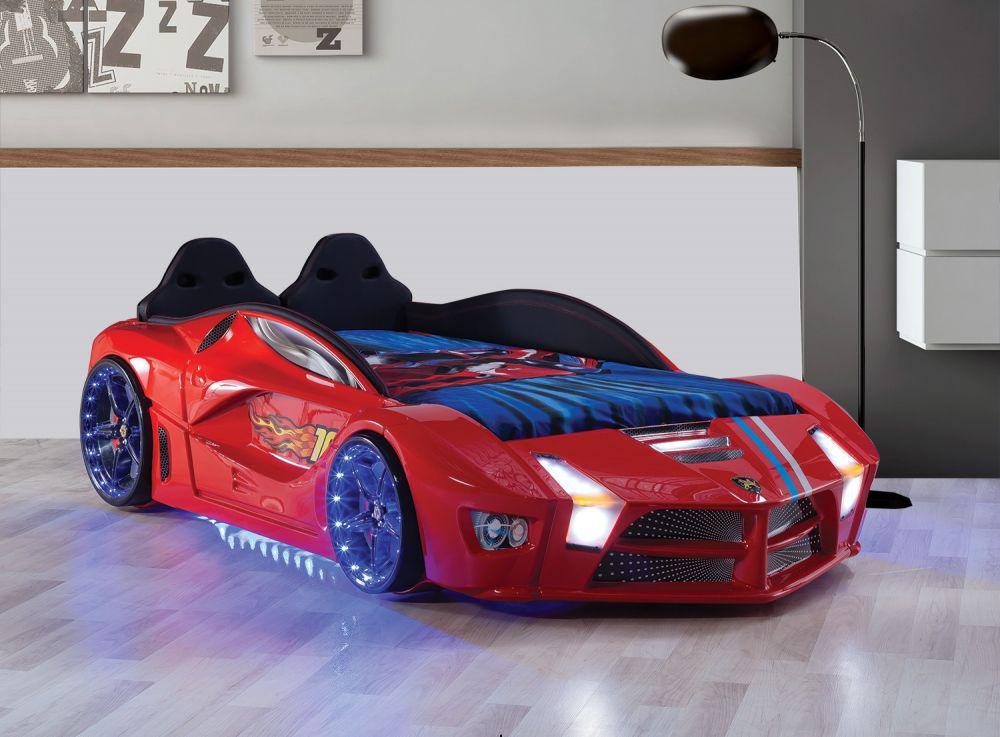 autobett luxury vollversion in rot mit led und polsterung. Black Bedroom Furniture Sets. Home Design Ideas