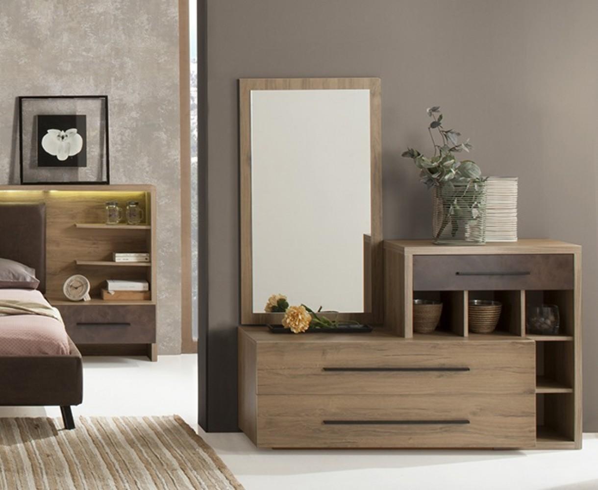 Kommode mit Spiegel Eden in Braun Modern Design - Kaufen bei KAPA Möbel