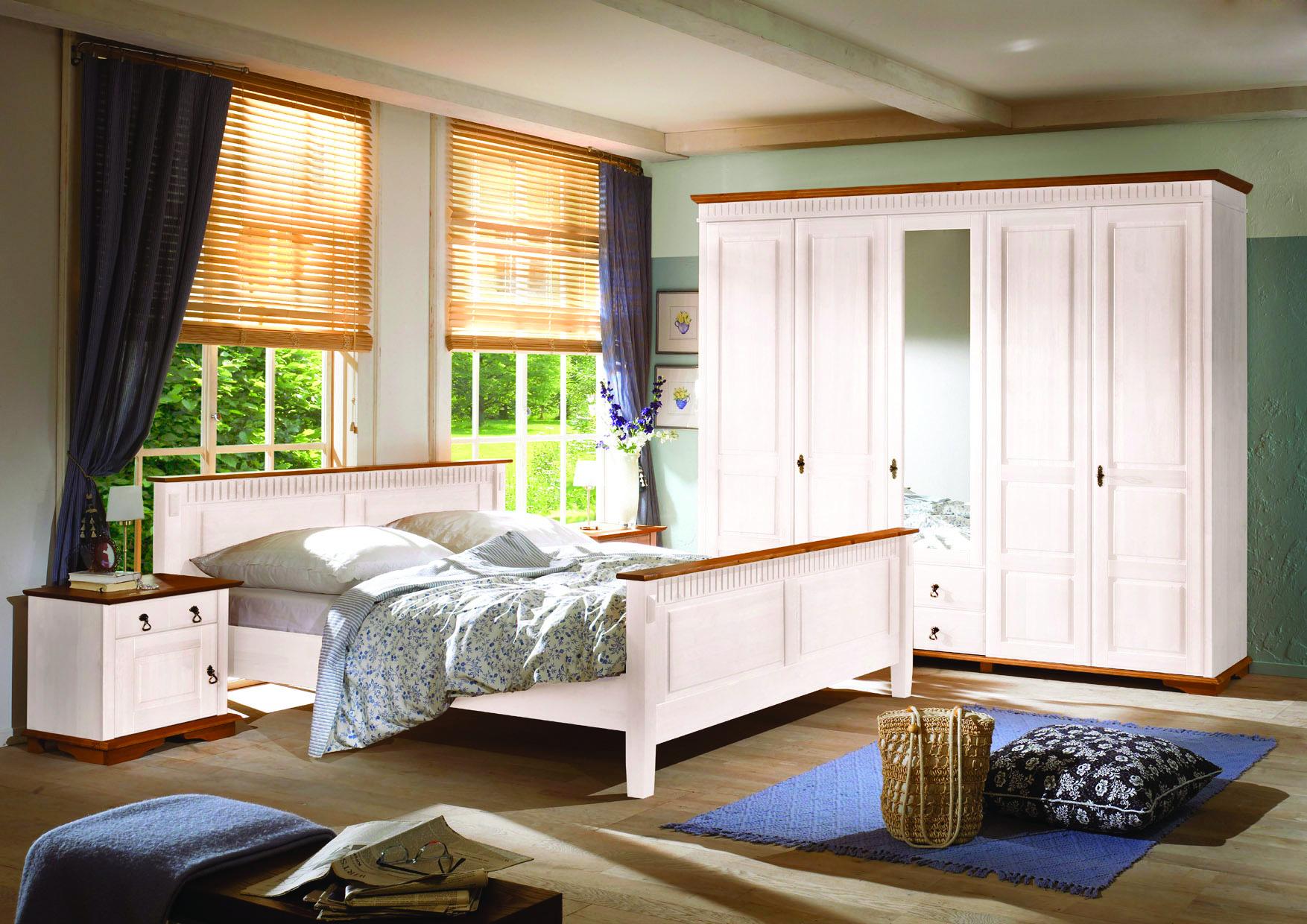 Schlafzimmer Valencina 4-tlg. Pinie massiv weiß Abs. Honig - Kaufen ...