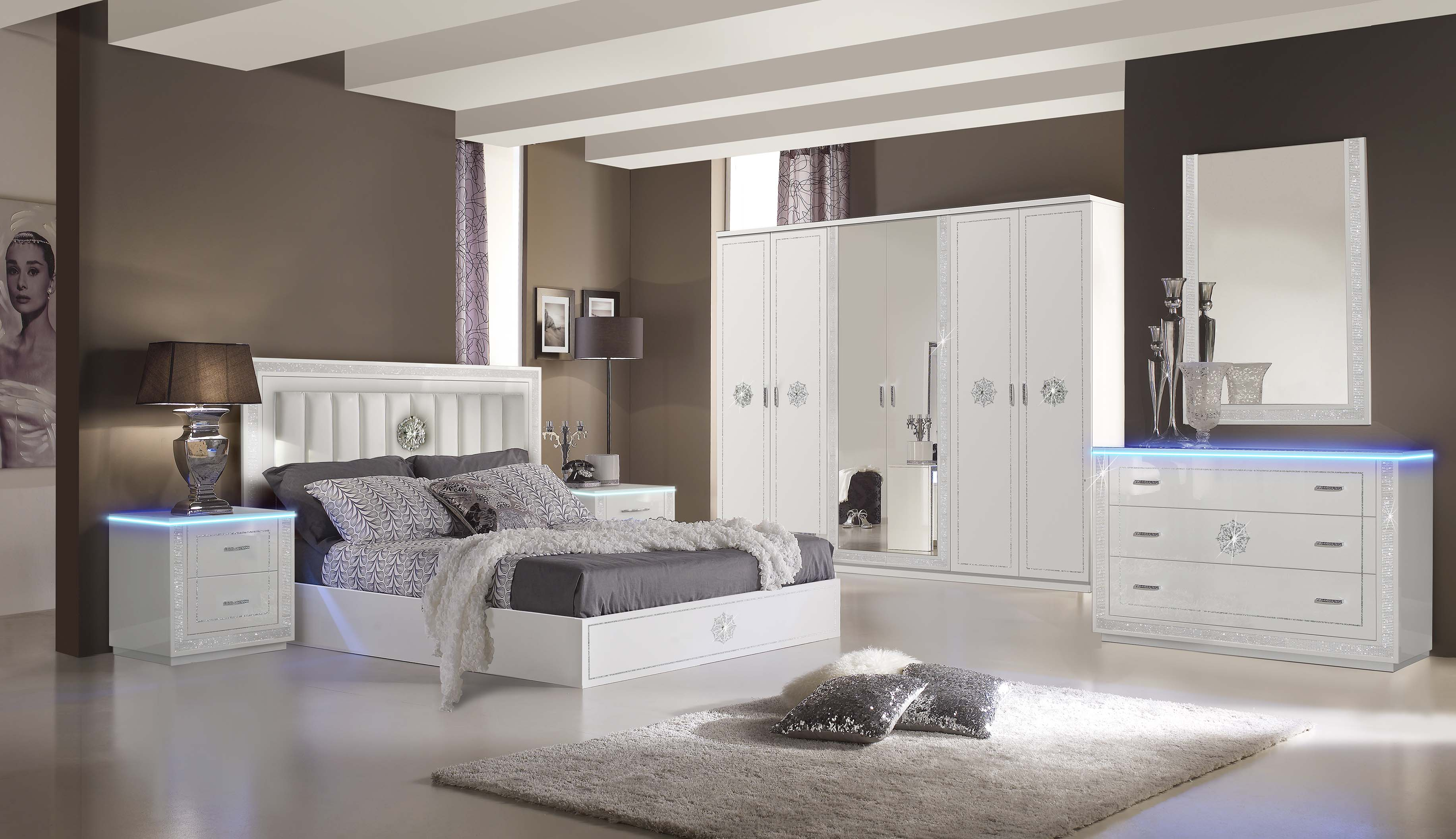 Schlafzimmer Set Cristal 180 X 200cm In Weiss Modern