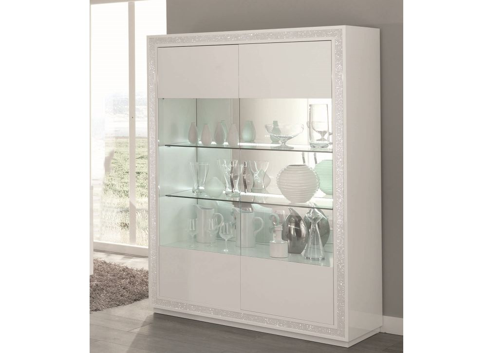 vitrine 2 trg christal in weiss mit led beleuchtung kaufen bei kapa m bel. Black Bedroom Furniture Sets. Home Design Ideas