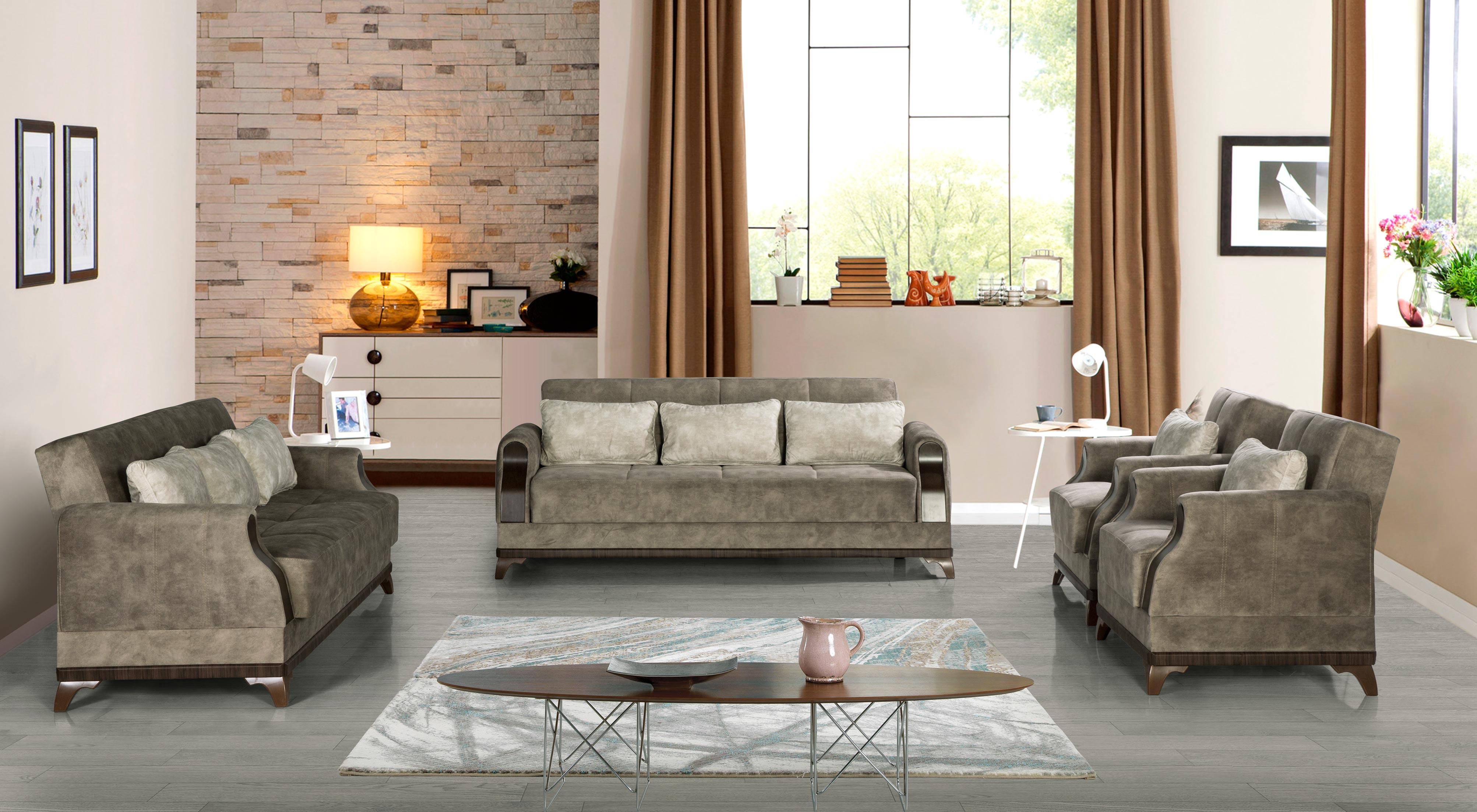 Sofa Couch Set Linda 321 In Grau Mit Schlaffunktion Kaufen Bei