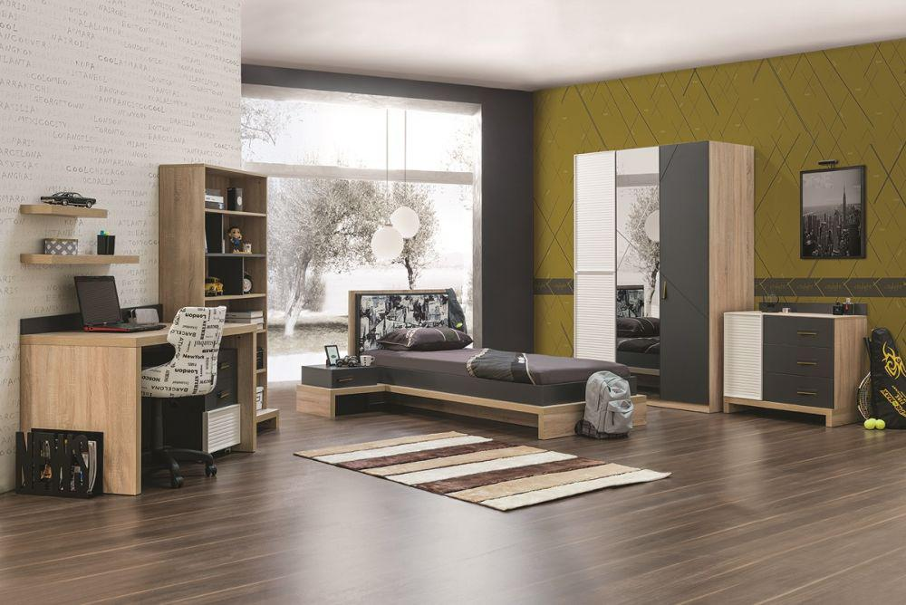 jugendzimmer city in holzoptik grau 4tlg kaufen bei. Black Bedroom Furniture Sets. Home Design Ideas