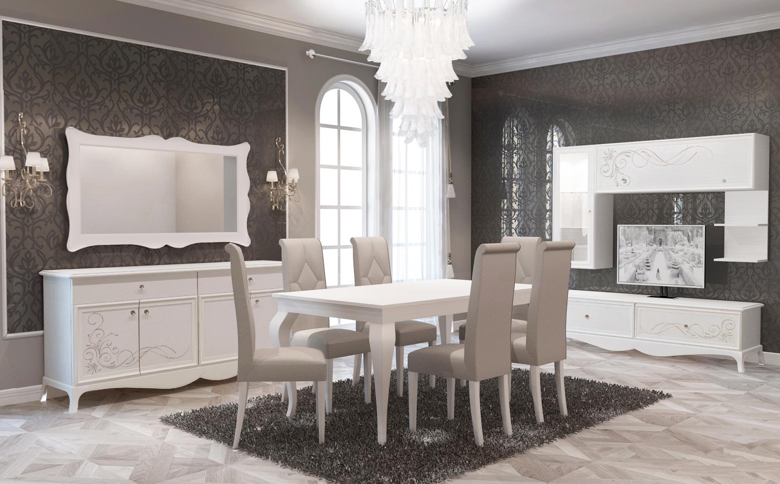 Esszimmer Giselle Mit 6 Stuhlen In Weiss Beige Klassisch Kaufen