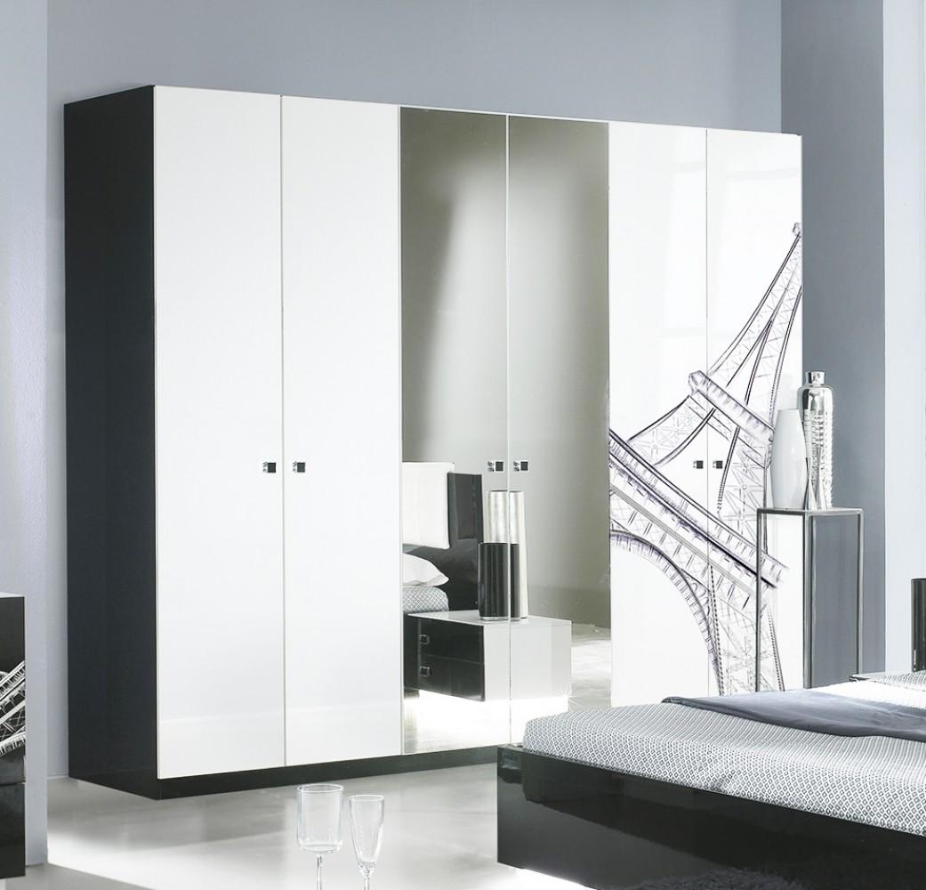Kleiderschrank 6trg. VIVIENNE in Schwarz Weiß Modern Design - Kaufen ...