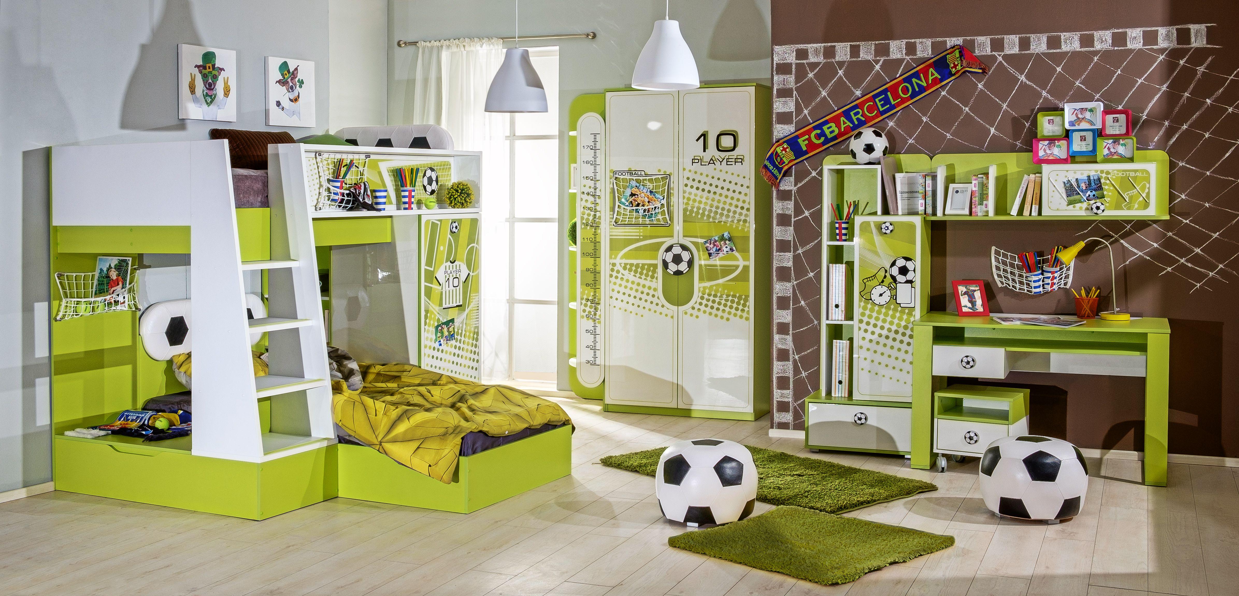 Kinderzimmer Fussball In Grun Weiss Etagenbett 8 Teilig