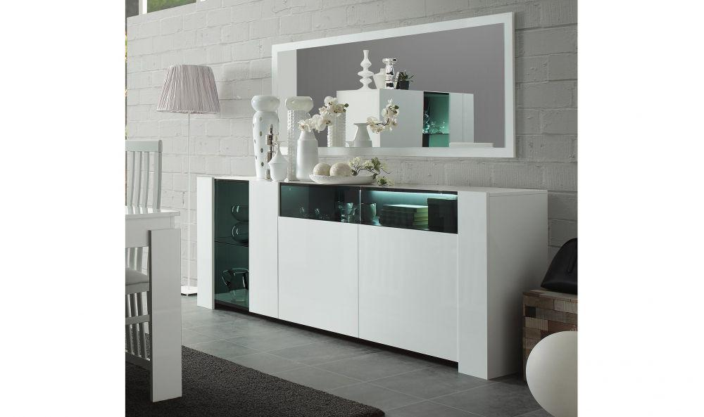 buffet kommode mit spiegel miami in weiss hochglanz mit led kaufen bei kapa m bel. Black Bedroom Furniture Sets. Home Design Ideas