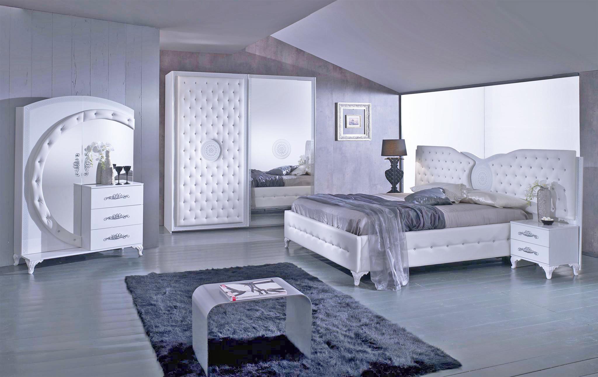 Schlafzimmer Anatalia in weiss silber modern - Kaufen bei KAPA Möbel