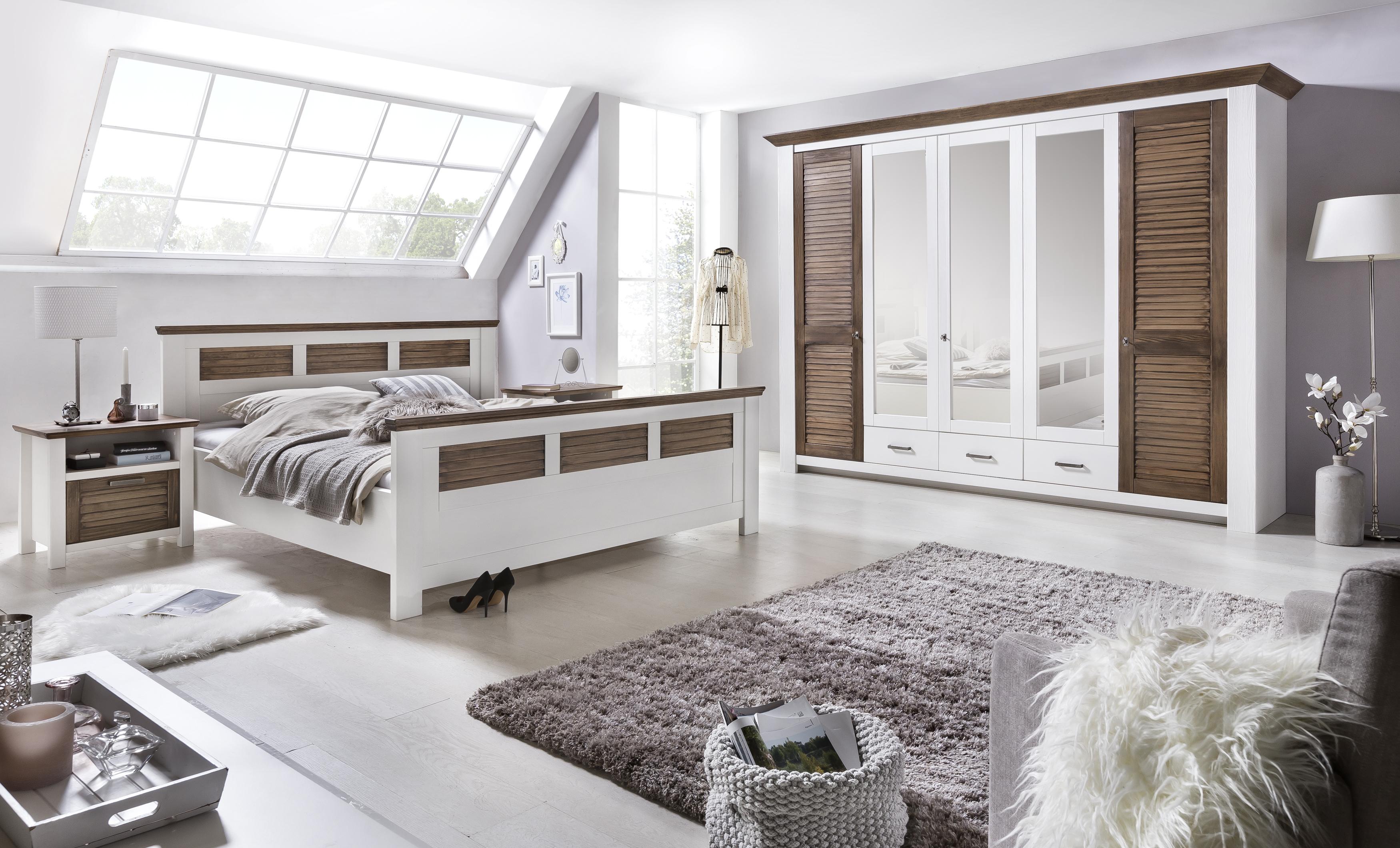 Schlafzimmer Laguna Pinie teilmassiv weiß Abs. 160x200 cm - yatego.com