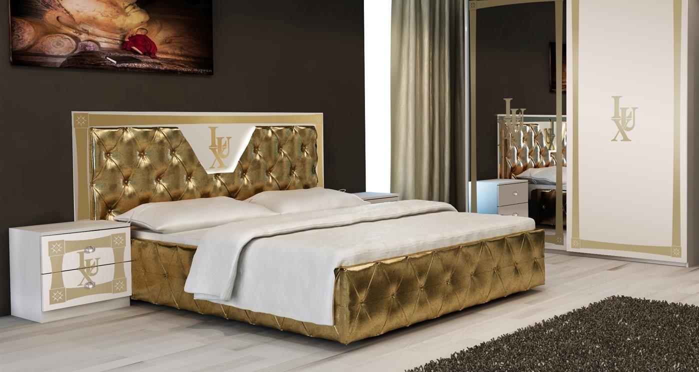 Bett Lux 160x200cm In Gold Weiss Luxus Kaufen Bei Kapa Mobel