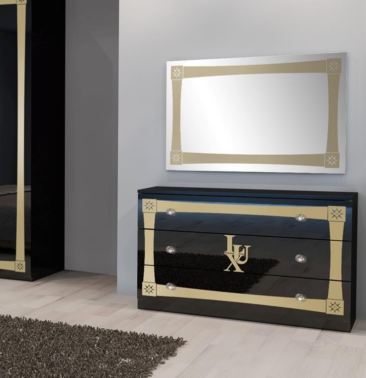 Kommode Mit Spiegel Lux In Schwarz Gold Luxus Kaufen Bei Kapa Mobel