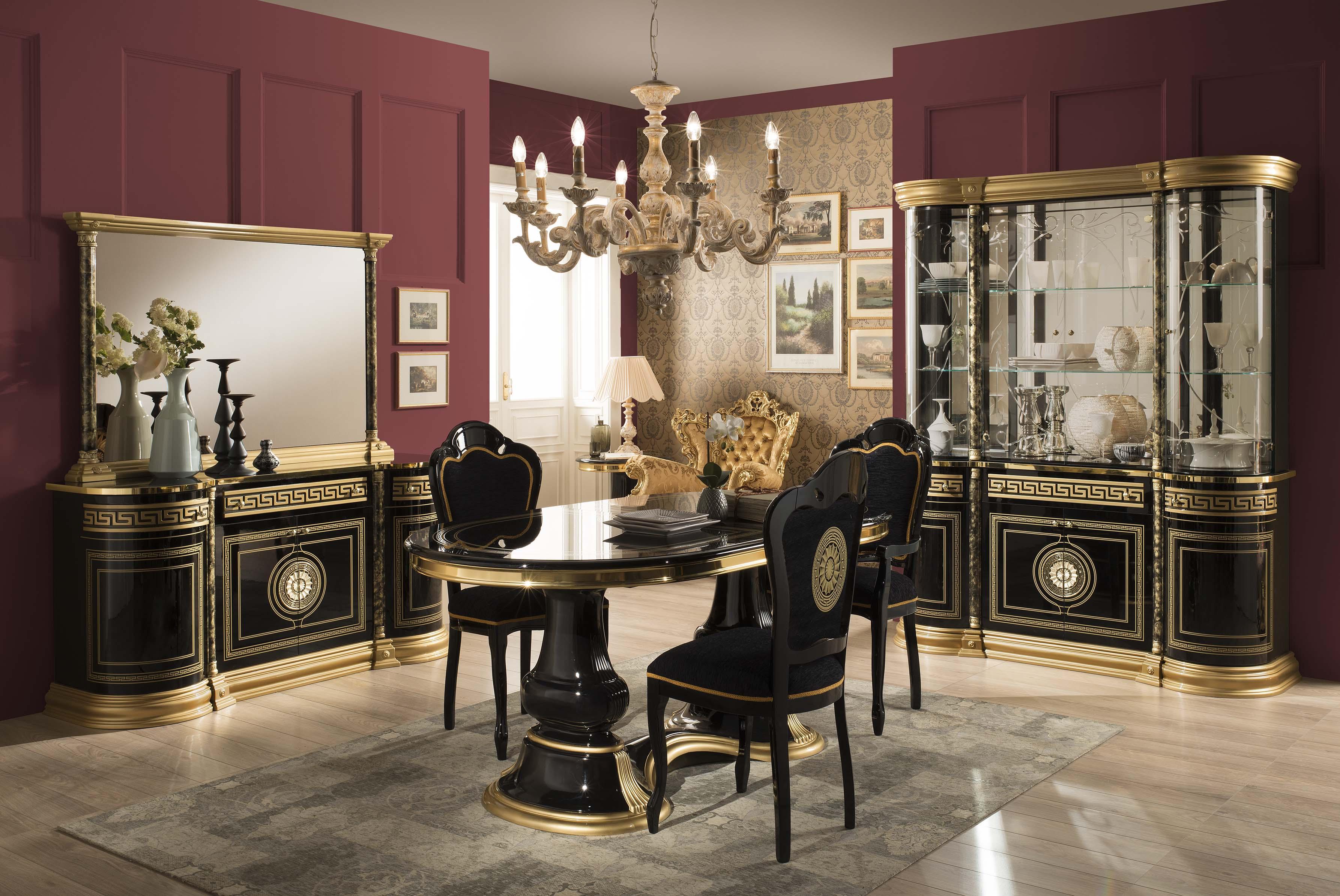Beau Esszimmer Venus Mit 4 Stüheln In Schwarz Gold Klassisch Elegant
