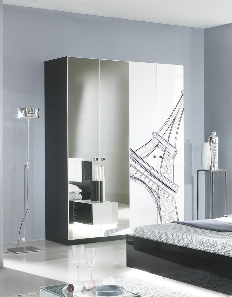 Kleiderschrank 4trg. VIVIENNE in Schwarz Weiß Modern Design - Kaufen ...