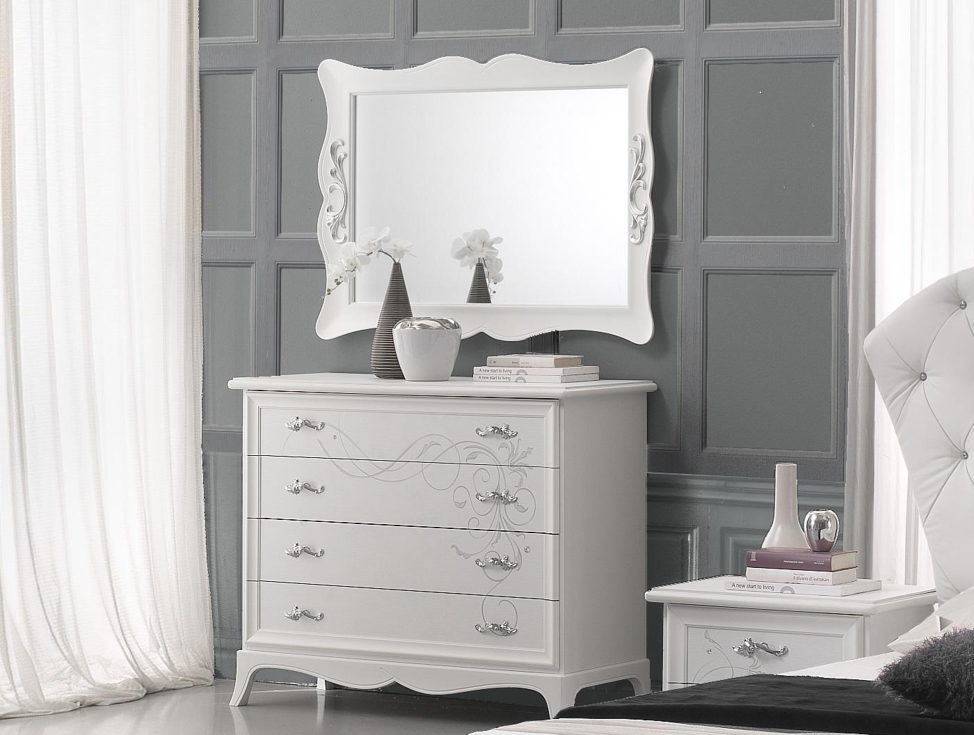 Wäschekommode mit Spiegel Gisell in weiss Schlafzimmer - Kaufen bei ...