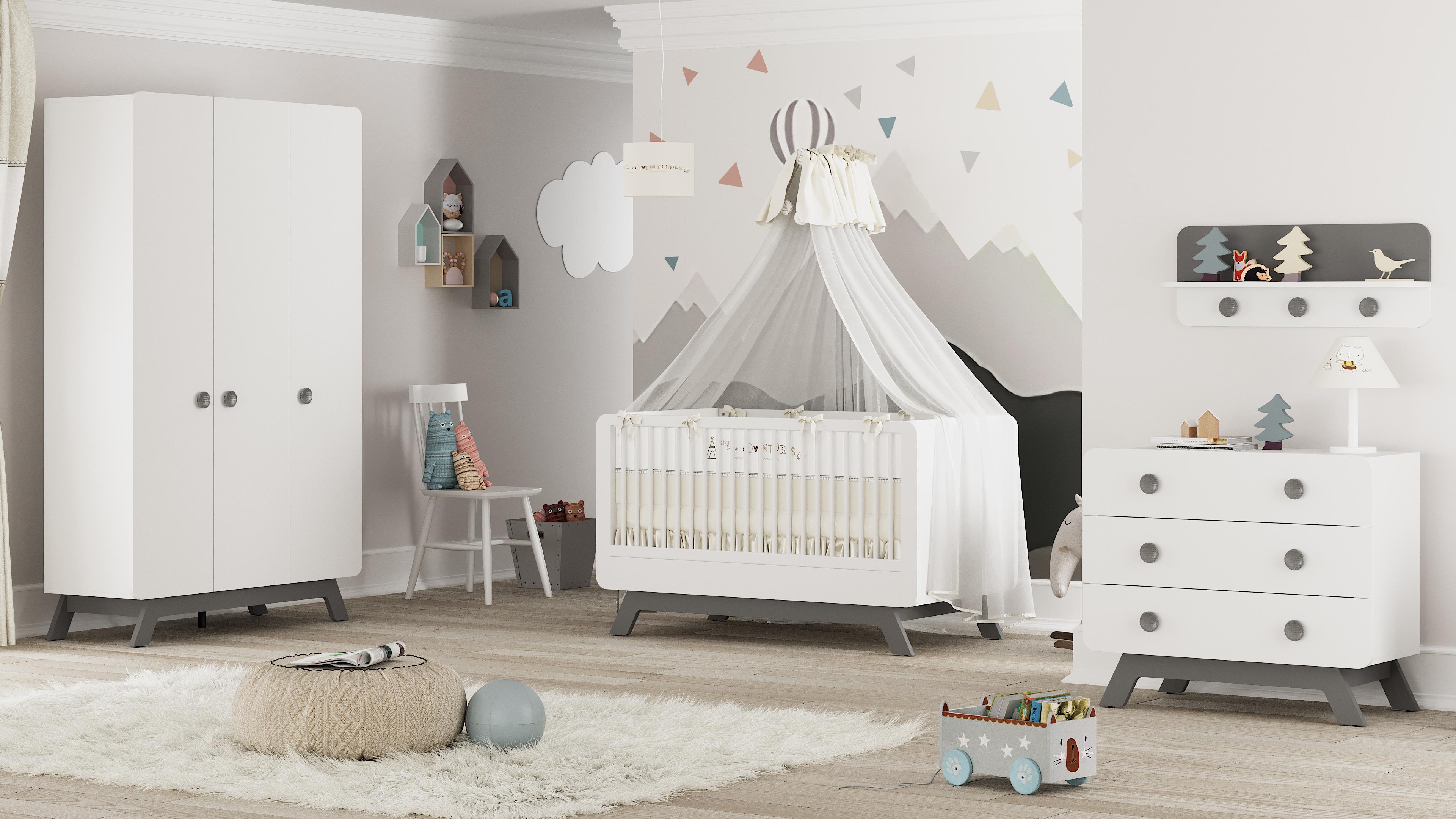 Babyzimmer Set Baby Cute 21 teilig weiss/grau