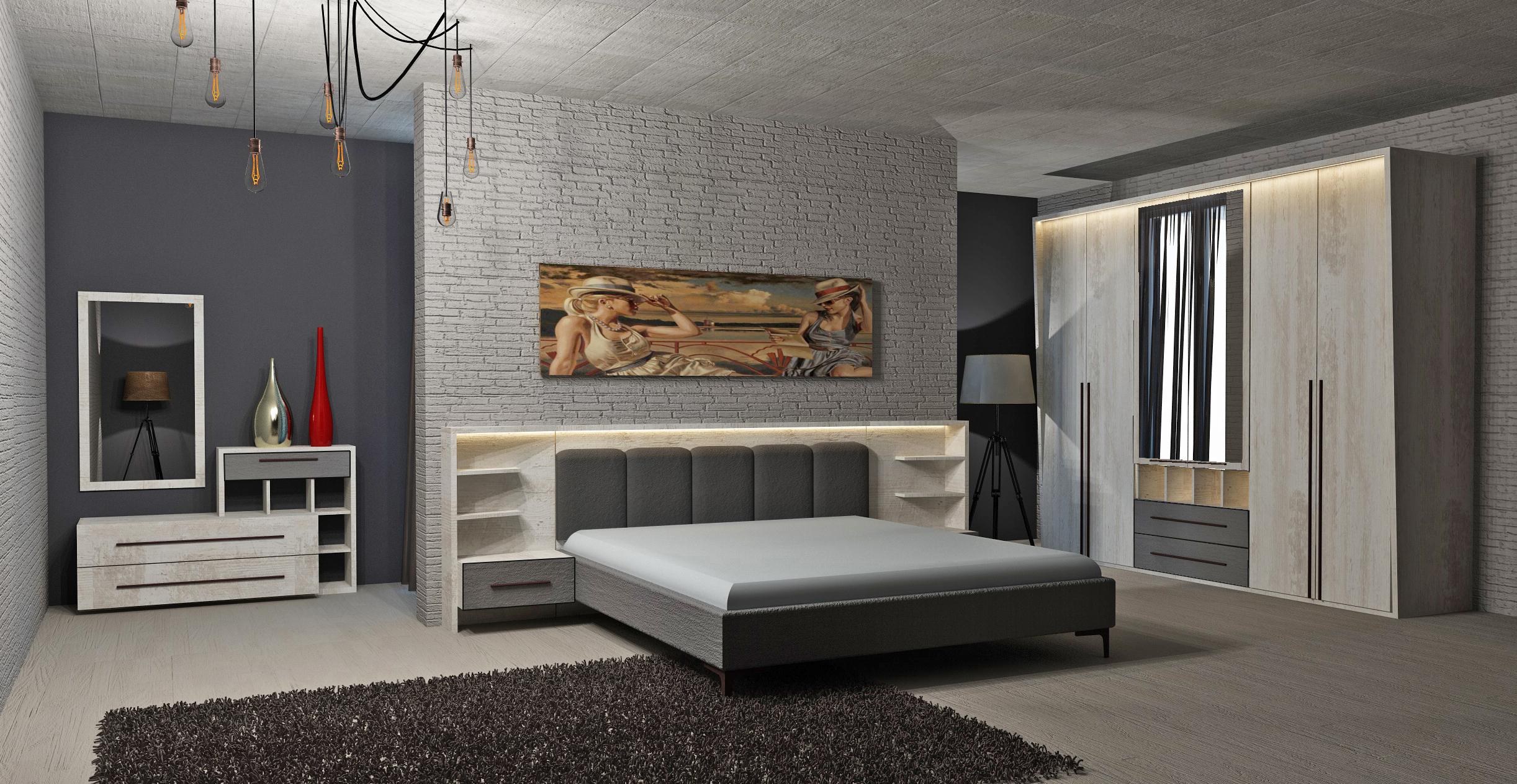 Schlafzimmer Set Eden in Weiß Grau