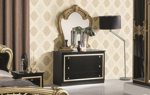 Kommode mit Spiegel Elisa in schwarz gold klassische Möbel