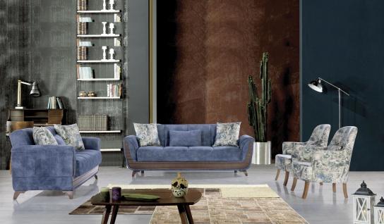 Sofa Couch Set Saray 321 In Blau Mit Schlaffunktion Kaufen Bei