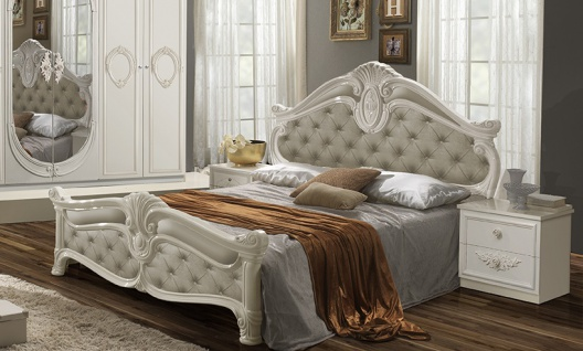 Bett Letizia 160x200 cm in Beige Wei? Barock Design