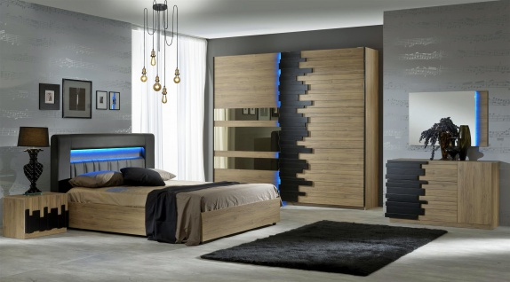 Schlafzimmer Set Mozart in Buche Optik 160x200 cm / ohne Kommode und Spiegel / mit Lattenrost 26 Leisten + Mittelzonenverst?rkung
