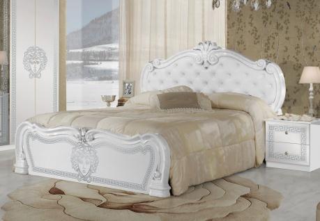 Bett Vilma Medusa 160x200 cm in Wei? Barock Design mit Polsterung