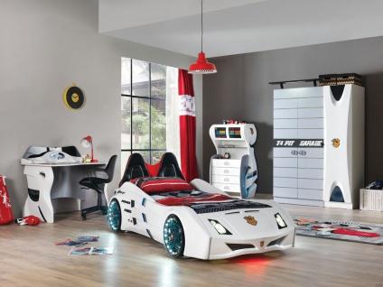 Autobett Kinderzimmer Garage in Weiß Schwarz