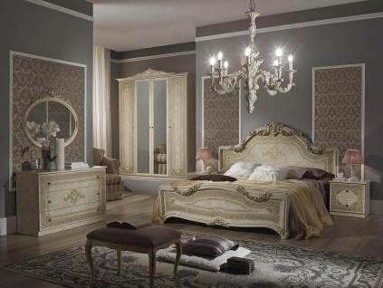 Schlafzimmer Set Elena in Beige Klassisch 180x200 cm / mit Schrank 6 t?rig / mit Kommode und Spiegel / ohne Lattenrost