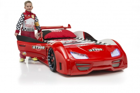 Autobett Turbo GT999 Rot mit LED und Spoiler T?r ?ffnet sich Lattenrost 90x190cm 13 Leisten / ohne Matratze