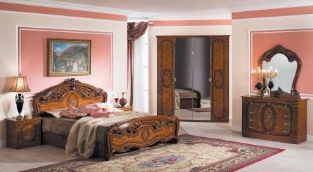 Schlafzimmer Florenz Walnuss Bett 160x 200 Cm Braun Barock Kaufen