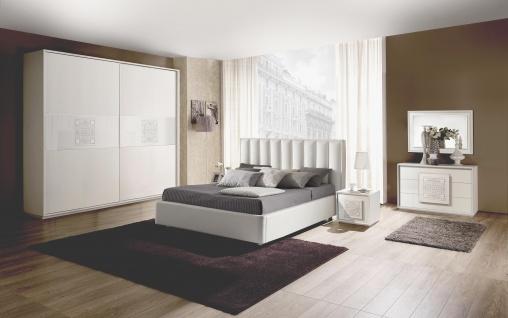 Schlafzimmer Set Dama in Wei? Modern Design 180x200 cm / mit Kommode und Spiegel