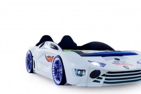Autobett Turbo Drift Vollfunktion in Weiß inkl. Lattenrost LED USB und Sound