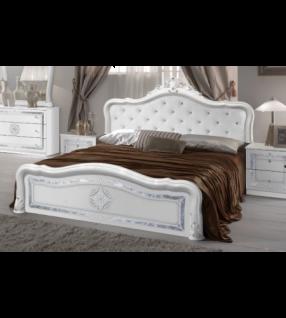 Bett Lucy 180x200 cm in weiss königlich Polsterung im Kopfteil