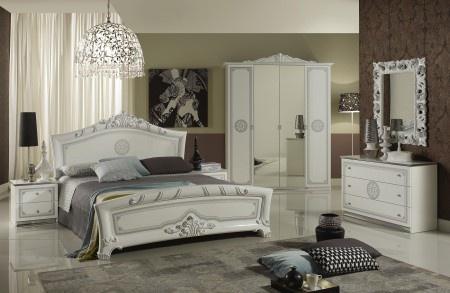 Elegant Schlafzimmer Great In Weiss Silber Klassische Design Italienisch