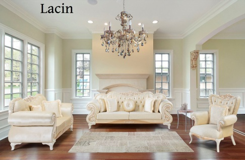 Sofa Couch Set Lacin 3+2+1 in Beige