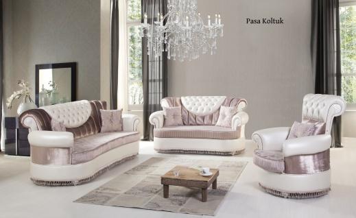 Sofa Set Pasa 3+2+1 in Rose-Weiss