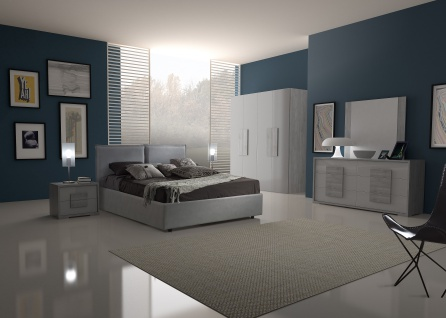 Schlafzimmer Set Lia modern 160x200 cm / mit Schrank 6 t?rig / mit Kommode und Spiegel